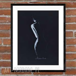 obraz 30x40 cm, akt kobiecy subtelny i zmysłowy, wykonany ręcznie