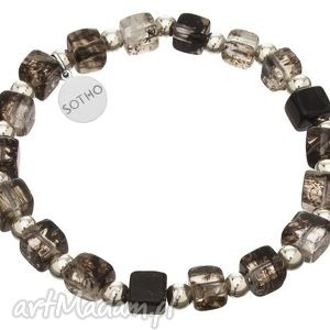 męska bransoletka czarny kwarc mszysty kostki srebro 925 - panów