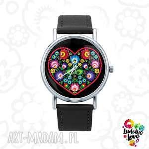 Zegarek z grafiką SERCE LUDOWE, polskie, ludowe, łowickie, modny, folk, dodatek