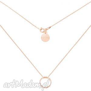 naszyjnik z różowego złota przestrzenną karmą, złoto, srebro, łańcuszek