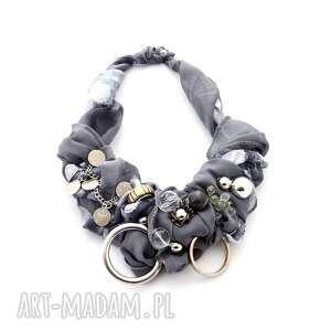 naszyjniki shades of grey naszyjnik handmade, naszyjnik, szary, srebrny