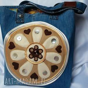 Duża Torba z Jeansu aplikacją Filcu, torba, torebka, jeans, filc, dżins, boho
