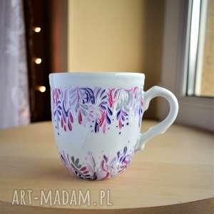 kubek ręcznie malowany lila róż 300 ml, dla mamy, kobiety, niej