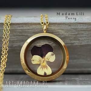Prawdziwy bratek ♥ Pozłacany medalion, naszyjnik, bratek, natura, kwiat