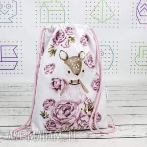 hand-made dla dziecka worek z imieniem sarenka w piwoniach
