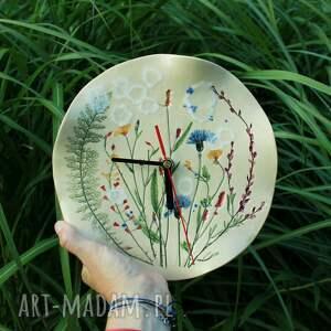 zegar łąka z chabrami, na ścianę, kwiaty polne, zegar, zegarek, dzień