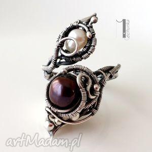 monochrome iv black orchid i pierścionek z perłami, srebro, wirewrapping, regulowany