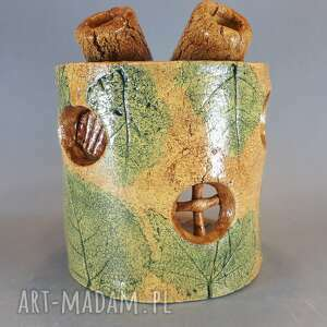 święta, domek lampion gliniany, tealight, upominek, ceramika