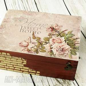 Różana szkatułka/herbaciarka, szkatułka, pudełko, herbaciarka, róże, drewno, skrzynka