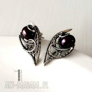 fern i - srebrne kolczyki z perłą miechunka - baśniowe, wirewrapping