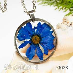 z1033 naszyjnik z suszonymi kwiatami herbarium - naszyjnikzkwiatów, medalion