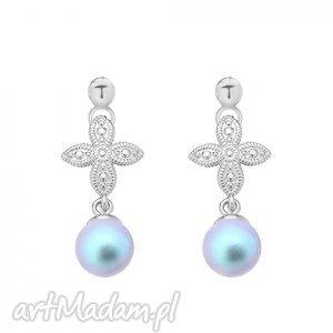 srebrne kolczyki z rozetką i niebieską perłą swarovski®