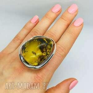 pierścionek srebrny z bursztynem rękodzieło srebro, pierścionek, damska