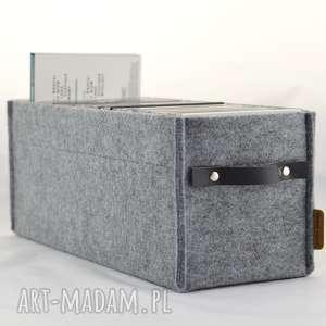 hand-made pudełka pojemnik na płyty cd szary ze skórzaną czarną rączką, pasuje do reagłu