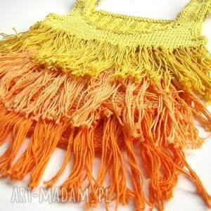 ręcznie robione bluzki top żółto-pomarańczowy z frędzlami