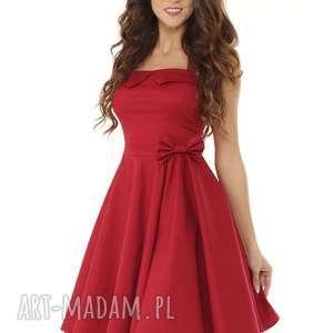 ella dora piękna rozkloszowana sukienka pin up bordowa, retro