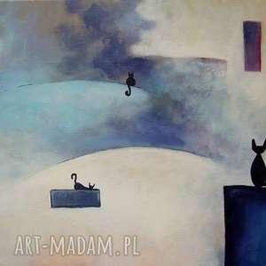obrazy obraz na płótnie - miasteczko kotów format 30/40 cm, koty, szarośi, niebieski