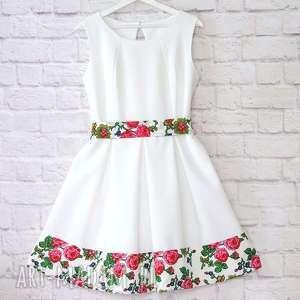 Biała sukienka z szarfą folk góralska, sukienka, biała, folk, folkowa, cleo