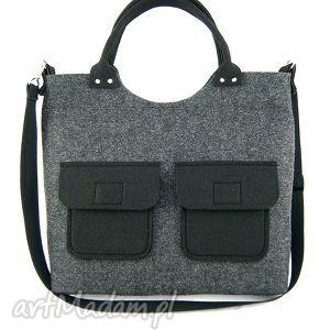 new black pockets - torebka, filc, listonoszka, codzienna, kieszenie
