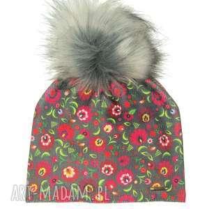 Prezent Czapka beanie pompon z futra, kwiaty, pompon, prezent, czapa, czapka