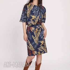 sukienka z dopasowanym dołem, suk123 liście granat, wyjściowa, elegancka