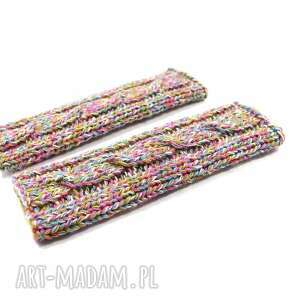 długie rękawiczki bez palców rękawki mitenki z warkoczem robione na drutach