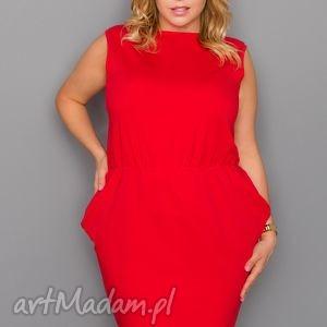 sukienka t132 czerwony plus size, sukienka, elegancka, dzianina, wygodna, kieszenie
