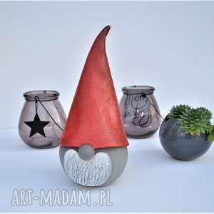 świąteczny skrzat ceramiczny - gnom, krasnal, mikołaj - ozdoba, dekoracja