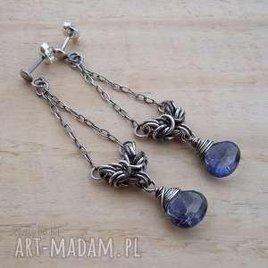 kwarce mistyczne - kolczyki, srebro długie chainmaille
