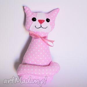 kotek miauqn - różowy w kropki - kot, kotek, zabawka, maskotka, dziewczynka