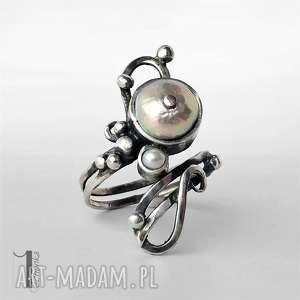 Prezent Sorbus II z perłą srebrny pierścionek , pierścionek, regulowany, srebro