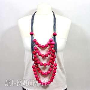 PMPB Style! Różowy szary długi naszyjnik lniany z drewnianymi