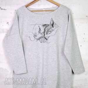KOTY Bluzka bawełniana szara z nadrukiem S/M, bluzka, bawełniana, nadruk, bluza