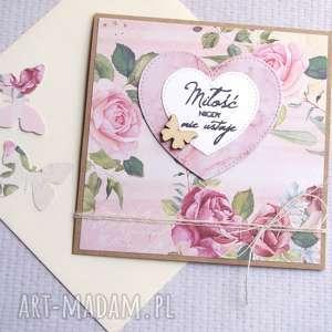 kartki miłość nigdy nie ustaje kartka handmade, ślub, ślubna