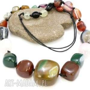 naszyjnik kamienie kolorowe agat mix - naszyjnik, bryłki, agat, regulowany, sznur