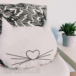 poduszka kocia główka - ,poduszka,kot,kocia,haft,dziecko,cat,