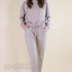 hand-made sportowe dres komplet damski bluza ze spodniami kolor beż