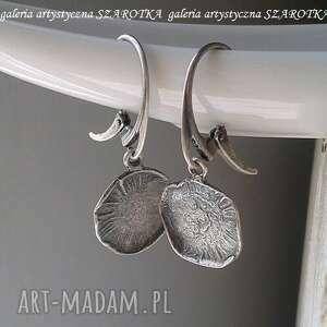 na blachę kolczyki ze srebra, srebrne kolczyki, wiszące, koła