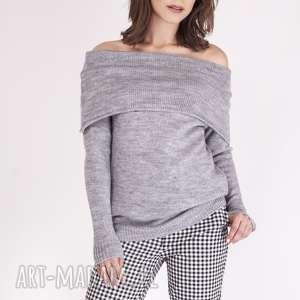 sweter w stylu hiszpańskim, swe127 szary mkm, sweterek, hiszpański, odsłonięte