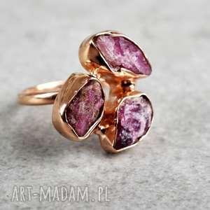 925 18k różowo pozłacany pierścionek turmalin, minerał