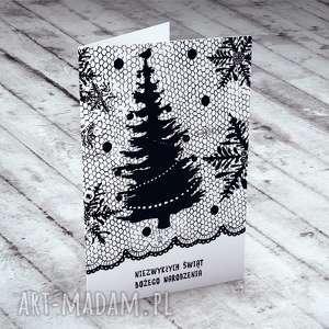 pomysł na święta upominki Świąteczna karteczka z koronką..., bożonarodzeniowe