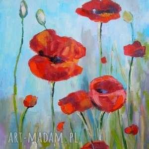 obrazy obraz na płótnie - maki łące format 40/30 cm, maki, czerwień, natura, łąka
