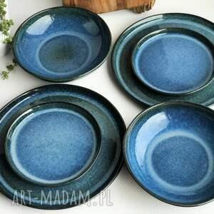 ręcznie robione ceramika zestaw ceramiczny dla dwojga - talerz obiadowy, deserowy