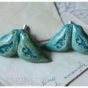 ceramika komplet 2 uchwytów z turkusowymi ptaszkami, ceramika, ptak, uchwyt