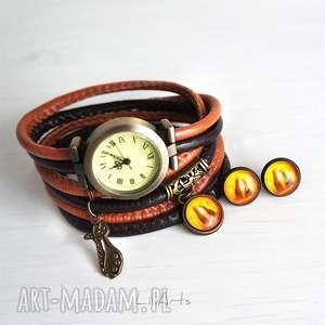 komplet - kotki zegarek i kolczyki, zegarek, bransoletka, kotki, kolczyki
