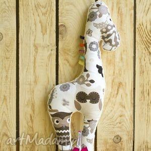 Mięciutka żyrafka- minky bawełna - sowy, zabawka, minky, maskotka, pluszak