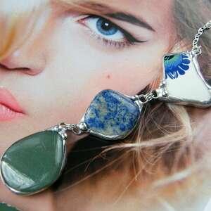 naszyjniki naszyjnik chwost lapis lazuli, długi wisiorek