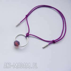 okrąg bransoletka, srebro, swarovski, sznurek, pod choinkę prezent
