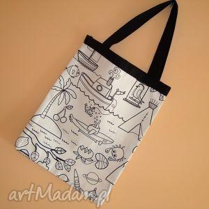 ręcznie robione na zakupy ekologiczna torba statek krab