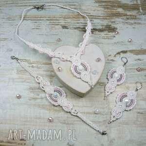 Komplet biżuterii ślubnej, ślub, ślubna, kolczyki, długie, makrama, koraliki